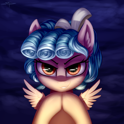 Size: 3000x3000 | Tagged: safe, artist:setharu, cozy glow, pegasus, pony, bust, looking at you, portrait, solo