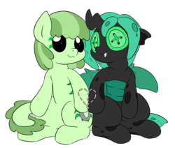 Size: 822x698 | Tagged: artist:dudey64, button eyes, green changeling, heart, oc, oc:mint chisel, oc only, oc:speculo, original species, plush pony, safe, sewn together, simple background, sitting, smiling, transparent background