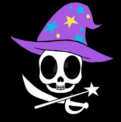 Size: 1280x1297 | Tagged: safe, artist:vidzmod, trixie, clothes, hat, jolly roger, magic wand, no pony, pirate, skull, sword, trixie's hat, weapon