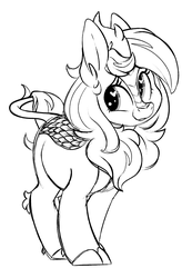 Size: 1140x1648 | Tagged: artist:mulberrytarthorse, female, heart eyes, kirin, kirin-ified, monochrome, oc, oc:mulberry tart, oc only, pony, safe, solo, species swap, wingding eyes