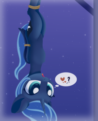Size: 1377x1701 | Tagged: alicorn, artist:dusthiel, atg 2019, bondage, bound wings, cute, female, hanging upside down, heart, lunabetes, newbie artist training grounds, open mouth, pictogram, pony, princess luna, rope, safe, solo, speech bubble, thought bubble, tied up, upside down, wings
