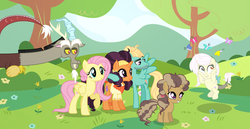 Size: 7624x3920 | Tagged: artist:velveagicsentryyt, butterfly, discord, discoshy, female, filly, fluttershy, hybrid, interspecies offspring, male, oc, oc:destiny, offspring, parent:discord, parent:fluttershy, parent:saffron masala, parents:discoshy, parents:saffronbreeze, parent:zephyr breeze, pony, safe, saffronbreeze, saffron masala, shipping, straight, unicorn, zephyr breeze