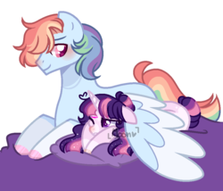 Size: 948x813 | Tagged: safe, artist:moon-rose-rosie, rainbow dash, twilight sparkle, alicorn, pony, base used, colored hooves, female, floppy ears, half r63 shipping, hug, male, prone, rainbow blitz, rule 63, shipping, simple background, size difference, straight, transparent background, twiblitz, twidash, twilight sparkle (alicorn), watermark, wing blanket, winghug
