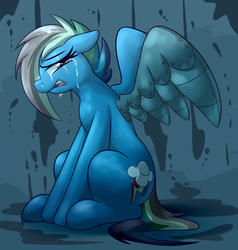 Size: 4057x4260 | Tagged: alternate timeline, amputee, apocalypse dash, artist:graphene, atg 2019, augmented, crying, crystal war timeline, eye scar, female, mare, newbie artist training grounds, pegasus, pony, prosthetic limb, prosthetics, prosthetic wing, rainbow dash, safe, scar, solo
