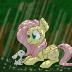 Size: 1350x1350   Tagged: safe, artist:imaplatypus, angel bunny, fluttershy, pegasus, pony, cute, dappled sunlight, duo, female, forest, mare, prone, shyabetes, smiling, tree
