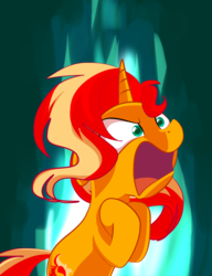 Size: 2851x3716 | Tagged: safe, artist:andromedasparkz, sunset shimmer, pony, unicorn, angry, female, fiery shimmer, fire, mare, messy mane, newbie artist training grounds, open mouth, solo