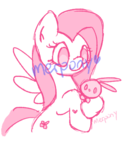 Size: 342x400 | Tagged: safe, artist:softyshy, angel bunny, fluttershy, pony, cute, duo, female, monochrome, obtrusive watermark, sketch, smiling, watermark