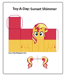 Size: 600x699 | Tagged: safe, artist:grapefruitface1, derpibooru exclusive, sunset shimmer, pony, arts and crafts, craft, female, papercraft, printable, toy a day
