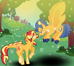 Size: 1008x896 | Tagged: artist:kiwi4578, classical unicorn, cloven hooves, female, flashimmer, flash sentry, flying, leonine tail, male, mare, pegasus, pony, safe, shipping, stallion, straight, sunset shimmer, tree, unicorn, unshorn fetlocks