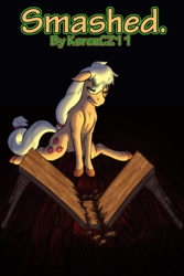 Size: 2000x3000 | Tagged: applejack, artist:korencz11, earth pony, fanfic, fanfic art, fanfic cover, furniture, furniture abuse, hatless, missing accessory, pony, safe, solo, table
