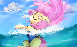 Size: 4742x2871 | Tagged: artist:rainyvisualz, belly button, bubble, clothes, cloud, cloudy, eyes closed, female, fluttershy, happy, high res, mare, one-piece swimsuit, pegasus, pony, safe, smiling, splash, splashing, swimming, swimsuit, water, wet mane
