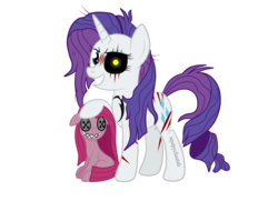 Size: 1936x1400 | Tagged: artist:squipycheetah, brand, doll, earth pony, eye scar, female, floppy ears, glowing eyes, lil miss rarity, lil-miss rarity, mare, messy mane, pinkamena diane pie, pinkamena doll, pinkie pie, pony, raised hoof, rarity, safe, scar, scarred, simple background, smiling, solo, stitches, toy, transparent background, unicorn, watermark