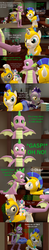 Size: 1920x9720 | Tagged: safe, artist:papadragon69, princess flurry heart, spike, alicorn, dragon, pony, unicorn, comic:spike's cyosa, 3d, comic, crown, crystal empire, cyoa, ending, implied sex, jewelry, male, male pregnancy, oh crap, older, older spike, pregnant, regalia, royal guard, running, source filmmaker, stallion, teenage spike, teenager, winged spike
