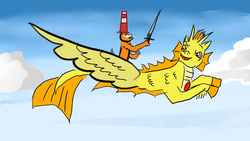 Size: 1024x576 | Tagged: adagio dazzle, angry, artist:horsesplease, dog, doge, flying, safe, siren, sword, weapon
