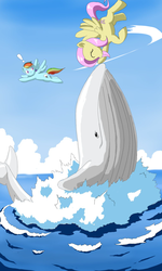 Size: 1024x1707 | Tagged: safe, artist:vinilyart, fluttershy, rainbow dash, pegasus, pony, whale, duo, exclamation point, female, flying, mare, ocean, outdoors, petting, sky, smiling, splash, spread wings, water, wings