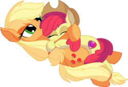 Size: 8097x5505   Tagged: safe, artist:cyanlightning, apple bloom, applejack, earth pony, pony, .svg available, absurd resolution, adorabloom, cute, duo, eyes closed, female, filly, hat, holding, hug, jackabetes, lidded eyes, mare, sibling love, siblings, simple background, sisterly love, sisters, sitting, transparent background, vector