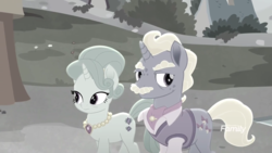 Size: 1920x1080   Tagged: safe, screencap, mr. hoofington, mrs. hoofington, pony, unicorn, rainbow roadtrip, bushy brows, clothes, discovery family logo, duo, facial hair, female, husband and wife, jewelry, male, mare, moustache, necklace, stallion