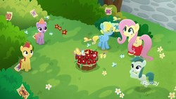 Size: 1920x1080   Tagged: safe, screencap, autumn saffron, dawn droplet, fluttershy, spring sprout, thistle rain, butterfly, earth pony, pegasus, pony, rainbow roadtrip, background pony, bush, butt, butterfly garden, colt, cute, discovery family logo, female, filly, flower, foal, leg warmers, male, mare, plot, shyabetes