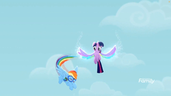 Size: 1699x956 | Tagged: safe, screencap, rainbow dash, twilight sparkle, alicorn, pegasus, pony, rainbow roadtrip, cloud, colored wings, discovery family logo, flying, goggles, multicolored wings, rainbow wings, sky, twilight sparkle (alicorn), wing bling, wings