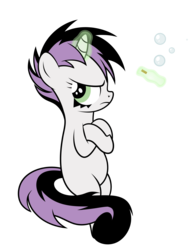 Size: 2556x3360 | Tagged: artist:mirrorcrescent, atg 2019, bipedal, bubble, cigarette, crossed arms, female, filly, goth, levitation, magic, newbie artist training grounds, pony, safe, simple background, smoking, solo, sweetie belle, telekinesis, transparent background, unicorn
