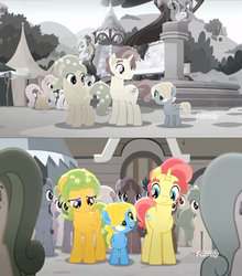 Size: 1279x1452 | Tagged: safe, screencap, dawn droplet, jasmine breeze, rich harvest, earth pony, pegasus, pony, unicorn, rainbow roadtrip, spoiler:rainbow roadtrip, background pony, colt, family, father and son, female, like father like son, like mother like son, male, mare, mother and son, stallion, unnamed pony