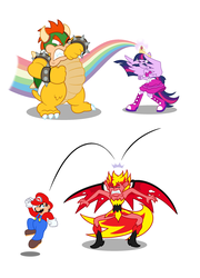 Size: 1196x1664 | Tagged: alicorn, artist:bbbhuey, big crown thingy, bowser, crossover, crown, demon wings, element of magic, epic, equestria girls, equestria girls (movie), eyes closed, fall formal outfits, fight, gritted teeth, human, jewelry, jumping, mario, one eye closed, ponied up, rainbow, rainbow of light, raised arm, regalia, safe, show accurate, simple background, sunset satan, sunset shimmer, super mario bros., twilight sparkle, twilight sparkle (alicorn), white background, wings