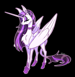 Size: 1756x1816 | Tagged: alicorn, artist:marbola, between dark and dawn, chest fluff, choker, classical alicorn, ear piercing, female, horn, leonine tail, long horn, looking at you, mare, piercing, pony, princess celestia, punklestia, safe, simple background, solo, spiked choker, spoiler:s09e13