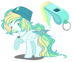 Size: 2100x1800 | Tagged: adoptable, artist:gihhbloonde, artist:meimisuki, base used, beanie, female, hat, magical lesbian spawn, mare, multicolored hair, oc, oc only, offspring, open mouth, parent:rainbow dash, parents:vapordash, parent:vapor trail, pegasus, pony, raised hoof, safe, simple background, solo, transparent background, whistle