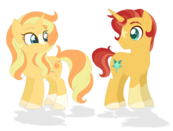 Size: 1489x1123 | Tagged: safe, artist:unoriginai, oc, oc only, oc:sunbeam flare, oc:sunlit glow, pony, cute, female, male, next generation, offspring, parent:sunburst, parent:sunset shimmer, parents:shimmerburst