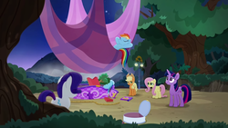 Size: 1280x720 | Tagged: alicorn, applejack, earth pony, female, fluttershy, hot air balloon, mane six, mare, pegasus, pinkie pie, pony, rainbow dash, rainbow roadtrip, rarity, safe, screencap, spoiler:rainbow roadtrip, twilight sparkle, twilight sparkle (alicorn), unicorn
