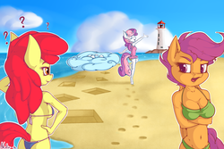 Size: 1800x1200 | Tagged: anthro, apple bloom, apple bloomers, artist:neko-me, ass, beach, belly button, bikini, breasts, busty apple bloom, busty scootaloo, busty sweetie belle, butt, clothes, cloud, cutie mark crusaders, lighthouse, midriff, older, one-piece swimsuit, question mark, safe, scootaloo, sky, sweetie belle, swimsuit