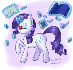Size: 2000x1900 | Tagged: artist:melliedraws, cute, fabric, gem, glasses, levitation, magic, needle, pencil, pin, profile, raribetes, rarity, safe, scissors, sketch, solo, telekinesis, thread, unicorn