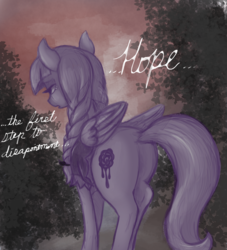 Size: 1364x1500 | Tagged: safe, artist:t72b, derpibooru exclusive, inky rose, pegasus, pony, ..., atg 2019, behind, braid, clothes, depressed, female, goth, hope, limited palette, looking away, mare, newbie artist training grounds, solo, teary eyes