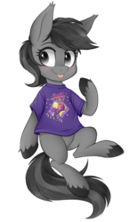 Size: 737x1200 | Tagged: artist:higgly-chan, blushing, clothes, cute, earth pony, male, niko (oneshot), oc, ocbetes, oc:grey matter, oc only, oneshot, :p, pony, safe, shirt, simple background, solo, tongue out, transparent background, t-shirt