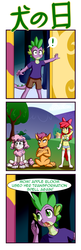 Size: 1193x3666 | Tagged: anthro, apple bloom, apple bloomers, armpits, artist:anibaruthecat, belly button, collar, diamond dog, diamond dogified, dog, implied twilight sparkle, japanese, midriff, plantigrade anthro, safe, scootaloo, species swap, spike, sweetie belle, unguligrade anthro