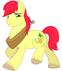 Size: 2800x3200 | Tagged: artist:cheezedoodle96, bright mac, earth pony, looking at you, male, pony, safe, simple background, smiling, solo, stallion, svg, .svg available, transparent background, vector, walking, yoke