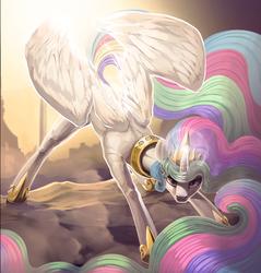 Size: 3000x3138   Tagged: safe, artist:dimfann, princess celestia, alicorn, pony, crown, female, impossibly long mane, jewelry, long mane, mare, necc, regalia, solo
