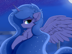 Size: 1600x1200   Tagged: safe, artist:d.w.h.cn, princess luna, alicorn, pony, blushing, bust, chest fluff, cute, ear fluff, ethereal mane, female, horn, lunabetes, mare, moon, night, portrait, profile, solo, spread wings, starry mane, stars, wings