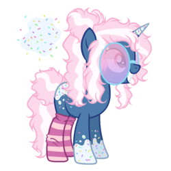 Size: 1000x1000 | Tagged: safe, artist:gihhbloonde, artist:meimisuki, oc, oc only, oc:sprinkle twinkle, pony, unicorn, base used, clothes, female, food, glasses, grin, mare, markings, messy mane, simple background, smiling, socks, solo, sprinkles, striped socks, transparent background