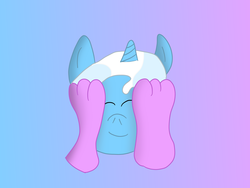 Size: 1600x1200 | Tagged: safe, artist:slimgoomba, starlight glimmer, trixie, anthro, plantigrade anthro, unicorn, ball, barefoot, eyes closed, feet, feet on face, foot fetish, foot worship, gradient background, happy, inanimate tf, morph ball, offscreen character, toes, transformation, trixieball