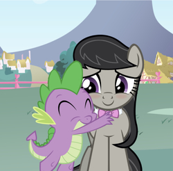 Size: 639x630 | Tagged: safe, edit, edited screencap, editor:undeadponysoldier, screencap, octavia melody, spike, dragon, earth pony, pony, adorable face, blushing, bow, collar, crack shipping, cute, daaaaaaaaaaaw, eyes closed, female, fence, happy, house, hug, love, male, mare, ponyville, shipping, smiling, spikelove, spiketavia, straight, tavibetes