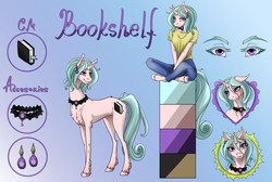 Size: 1486x1000 | Tagged: safe, artist:tri-edge, oc, oc:bookshelf, anthro, unicorn, accessories, amethyst, blushing, book, bookmark, chest fluff, choker, clothes, color palette, ear piercing, earring, gradient background, heart eyes, jeans, jewelry, pants, piercing, reference sheet, shirt, solo, t-shirt, unshorn fetlocks, wingding eyes, ych result