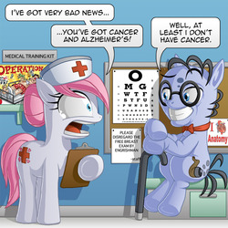 Size: 800x800 | Tagged: safe, artist:berrypawnch, mr. waddle, nurse redheart, earth pony, pony, ask pun, alzheimer's, ask, comic, female, male, mare, operation, pun, single panel, stallion, we are going to hell, when you see it