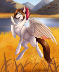 Size: 1000x1217 | Tagged: artist:sunny way, female, looking at you, mare, oc, oc:sunny way, open mouth, pegasus, pony, rcf community, safe, solo, wings