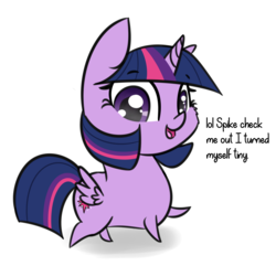 Size: 1884x1818 | Tagged: alicorn, artist:artiks, butt wings, cheek fluff, chibi, cute, dialogue, female, implied spike, mare, pointy legs, pony, safe, simple background, solo, tiny, tiny ponies, twiabetes, twilight sparkle, twilight sparkle (alicorn), white background, wings