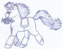 Size: 1019x793 | Tagged: artist:69bea, basket, carrot, clothes, food, galloping, glasses, happy, male, monochrome, oc, oc:luri, oc only, pony, saddle, safe, simple background, sketch, smiling, solo, stallion, traditional art, unicorn