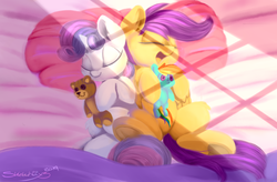 Size: 780x512 | Tagged: safe, artist:sketchiix3, rainbow dash, scootaloo, sweetie belle, pegasus, pony, unicorn, bed, cute, cutealoo, diasweetes, duo, female, filly, pillow, plushie, pony holding plushie, sleeping, sweet dreams fuel, teddy bear, underhoof