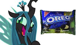 Size: 1728x1024 | Tagged: safe, queen chrysalis, changeling, changeling queen, candy, cookie, crazylis, crown, derp, fangs, female, food, green tea oreo, japanese, jewelry, laughing, meme, not salmon, open mouth, oreo, regalia, simple background, sweets, text, wat, white background
