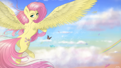 Size: 4800x2700 | Tagged: safe, artist:maneingreen, fluttershy, butterfly, pegasus, pony, blushing, cloud, female, rainbow, sky, solo, spread wings, wings