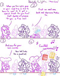 Size: 1280x1611   Tagged: safe, artist:adorkabletwilightandfriends, spike, starlight glimmer, twilight sparkle, alicorn, dragon, pony, unicorn, comic:adorkable twilight and friends, adorkable twilight, bent over, bowl, cereal, cereal box, chef's hat, comic, cooking, dork, feast, food, hat, humor, kitchen, lineart, meal, napkin, silly, slice of life, spoon, table, twilight sparkle (alicorn)